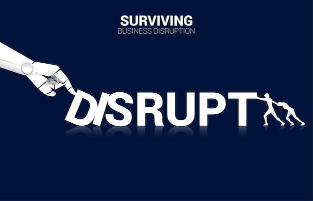 Biznesmen pchać domino do walki ręką robota. koncepcja biznesowa zakłócenia ai w celu wywołania efektu domina.