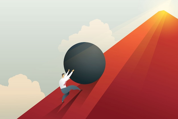 Biznesmen pchanie głaz na wzgórze i ciężka praca wyzwanie.