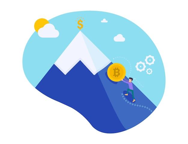 Biznesmen pchanie złotego bitcoina wspinaczki na wzgórze na tle nieba. wzrost kryptowaluty. górnictwo pieniądza elektronicznego. syzyfowa robota mały człowiek pcha monetę. charakter ilustracji wektorowych.