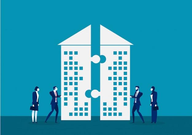 Biznesmen pchnięcie firmy do inwestowania razem ilustrator koncepcji
