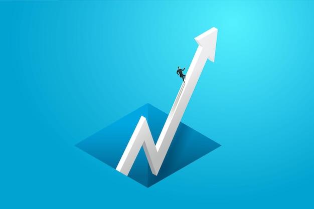 Biznesmen pędzi na strzałkę wykresu do celu celu wizjoner koncepcji biznesowej