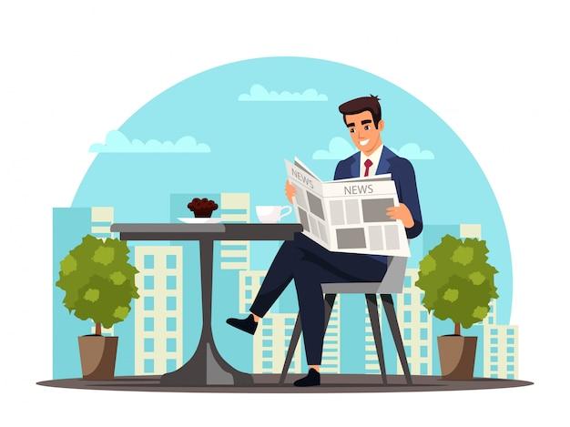 Biznesmen pić kawę w kawiarni podczas przerwy w pracy