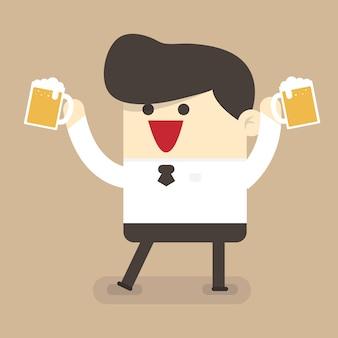 Biznesmen pić piwo