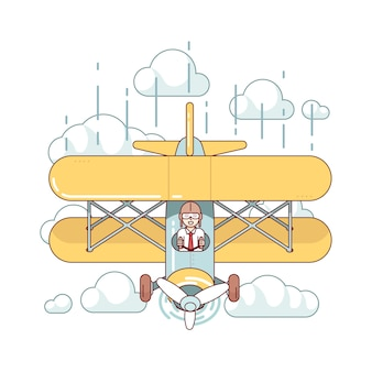Biznesmen pilot latania dwupokładowy samolot
