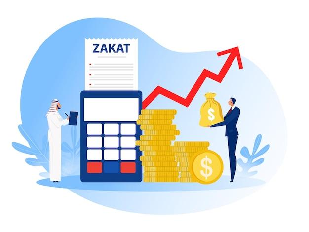 Biznesmen płaci zakat z zysku na ramadan kareem.