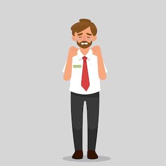Biznesmen płacze i smutny