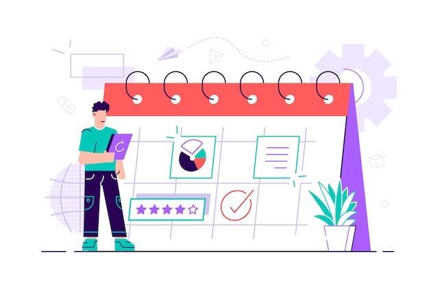 Biznesmen planuje swoją pracę. nowoczesna koncepcja planowania biznesowego, aktualności i wydarzeń, przypomnienia i harmonogramu. kobieta w kalendarzu z dużym piórem. ilustracja stylu płaska konstrukcja.