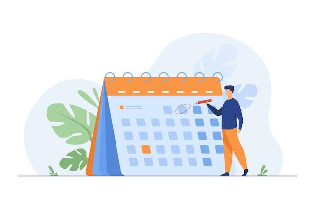 Biznesmen planuje wydarzenia, terminy i porządek obrad