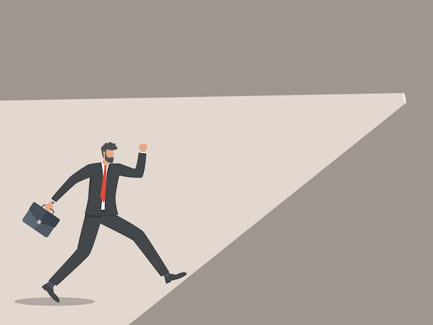 Biznesmen pobiegł w kierunku źródła światła, koncepcji rozwiązań biznesowych.