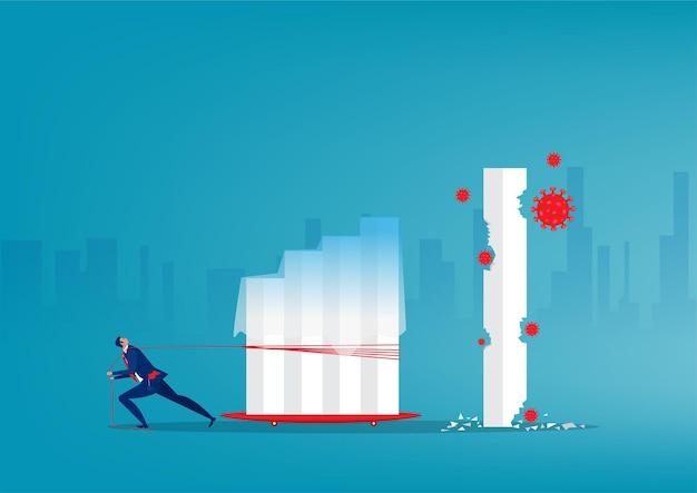 Biznesmen pociągnij za linę, aby spłaszczyć wzrost wykresu z koncepcji ryzyka koronawirusa kryzysu. wektor