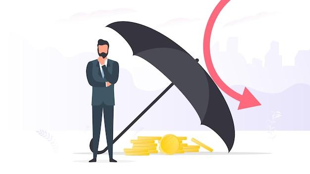 Biznesmen pod parasolem. koncepcja ochrony biznesu. biznes jest bezpieczny od ryzyka.
