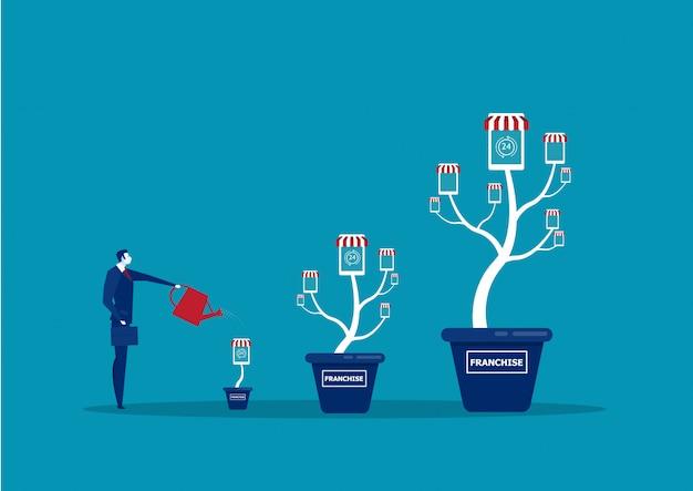 Biznesmen podlewa drzewo pieniędzy, aby rosnąć