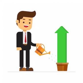 Biznesmen podlewania wykresy wyższe