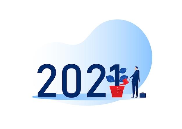 Biznesmen podlewanie roślin koncepcji płaskiej konstrukcji nowego roku 2021