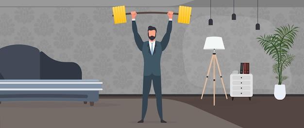 Biznesmen podnosi sztangę złotymi monetami. mężczyzna w garniturze ze sztangą. koncepcja udanego biznesu i wzrostu przychodów. wektor.