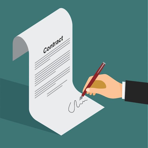 Biznesmen podpisywania dokumentu za pomocą pióra i umowy