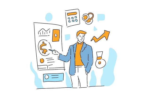 Biznesmen pokazuje, jak finanse ręcznie rysowane ilustracji