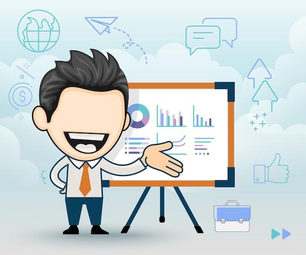 Biznesmen pokazuje raport finansowy kierownik przedstawia prezentację w stylu kreskówki