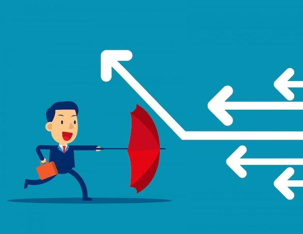 Biznesmen pokonuje przeciwności losu