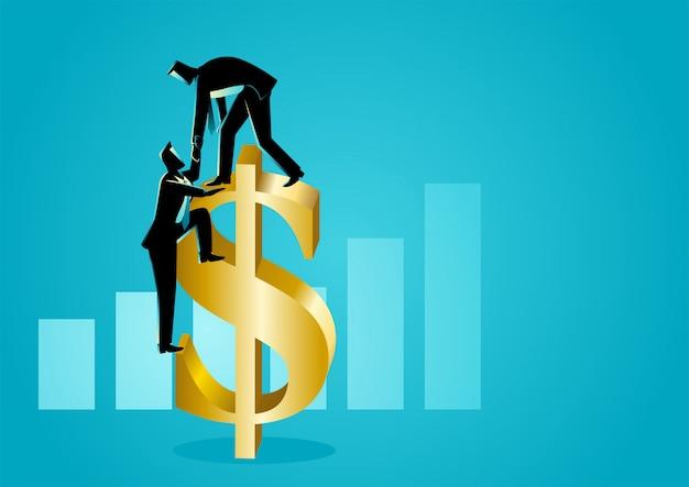 Biznesmen pomaga innym biznesmenom wspinać się symbol dolara