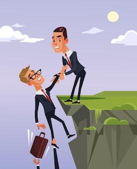 Biznesmen pomaga przyjacielowi płaską ilustrację