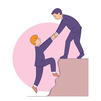 Biznesmen pomagając sobie nawzajem, aby osiągnąć cel