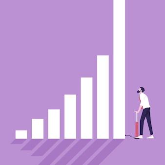 Biznesmen pompujący wykres wzrostu za pomocą rowerowych pomp powietrznych, koncepcja wzrostu gospodarczego