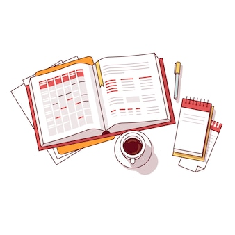 Biznesmen poranek dzienny harmonogram notebooka