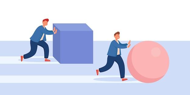 Biznesmen poruszający się z pudełkiem, podczas gdy mądrzejszy konkurent pcha piłkę