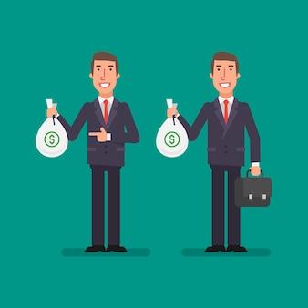 Biznesmen posiada worek pieniędzy posiada walizkę i uśmiechnięty. ludzie biznesu. ilustracja wektorowa.
