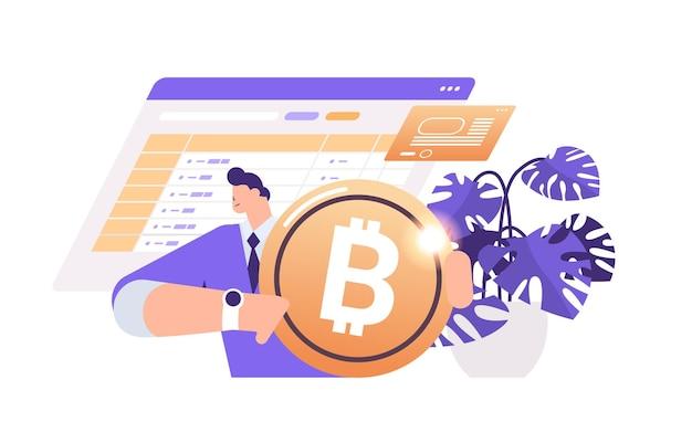 Biznesmen posiadający złotą monetę kryptograficzną kryptowaluta wydobywająca wirtualne pieniądze blockchain cyfrowej waluty