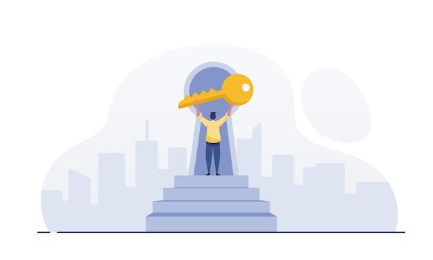 Biznesmen posiadający złoty klucz. klucz koncepcji biznesowej sukcesu. biznesmen z niecierpliwością.