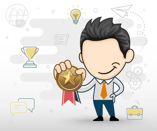 Biznesmen posiadający złoty medal płaska koncepcja biznesowa w stylu kreskówki