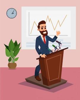 Biznesmen postać stojąca na trybun wygłaszający mowę