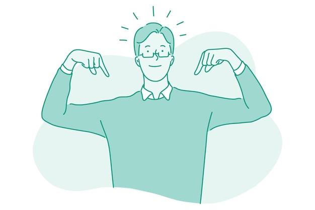 Biznesmen postać z kreskówki stojąc i wskazując palcami na siebie