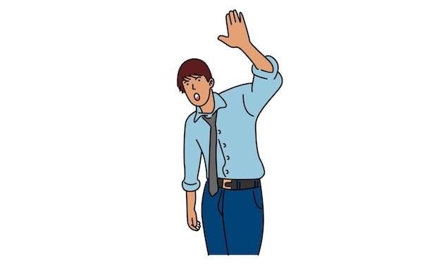 Biznesmen powitanie kogoś ręką podniósł