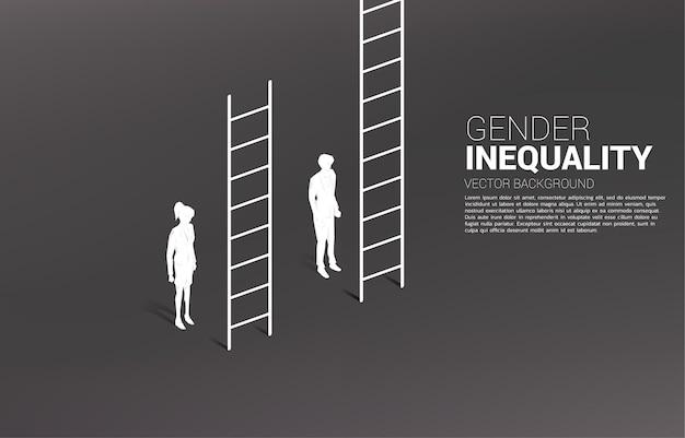 Biznesmen pozycja z wyższą drabiną niż bizneswoman. pojęcie nierówności płci w biznesie i przeszkody na ścieżce kariery kobiety