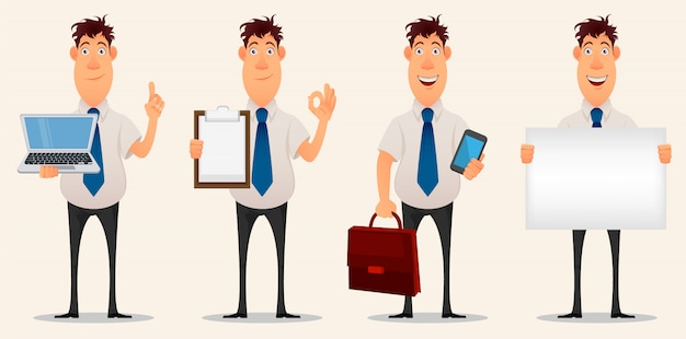 Biznesmen, pracownik biurowy. zestaw znaków kreskówek