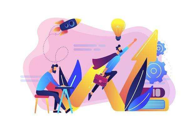 Biznesmen pracuje i lata jak superbohater z teczką. rozpocznij uruchomienie, rozpocznij przedsięwzięcie i koncepcję przedsiębiorczości