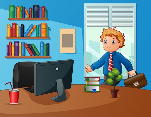 Biznesmen pracuje na ilustracji biurowej
