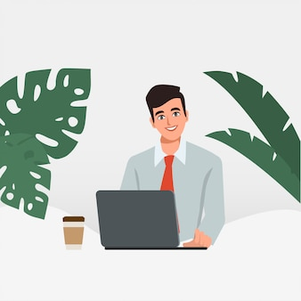 Biznesmen pracuje na komputerze przenośnym. administracja w biurze. charakter ludzi biznesu. scena animacji dla ruchomej grafiki.