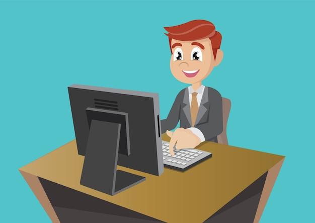 Biznesmen pracuje na komputerze
