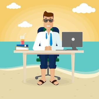 Biznesmen pracuje na plaży w pobliżu morza. praca na zlecenie poza biurem, równowaga między życiem zawodowym i prywatnym. ilustracja wektorowa w stylu płaski.