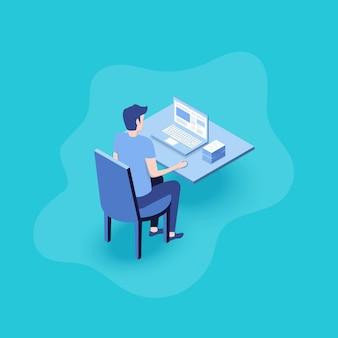 Biznesmen pracuje przy komputerze. mężczyzna patrząc na ekran laptopa.