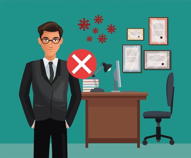 Biznesmen pracuje w biurze z cząsteczkami