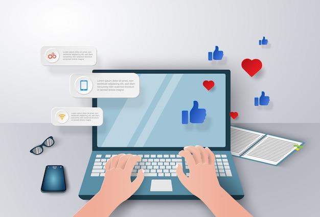 Biznesmen pracuje z laptopem dla biznesowego marketingu lub handlu elektronicznego