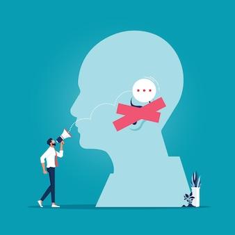 Biznesmen próbujący skomunikować się z klientem, który ignoruje nieudana komunikacja