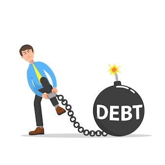 Biznesmen próbujący wyjść z niewoli zadłużenia