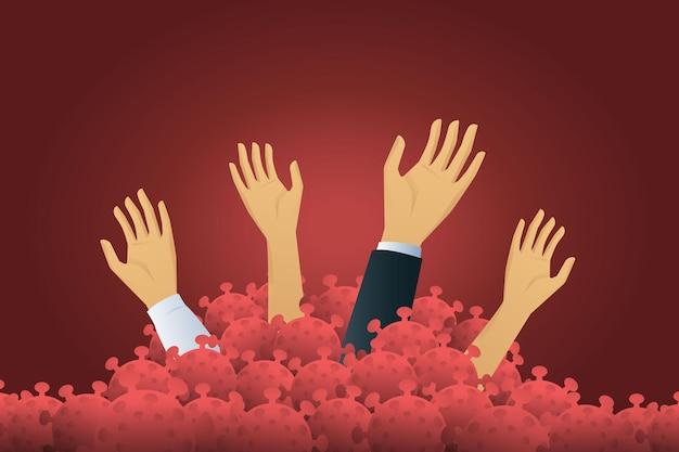 Biznesmen próbuje podnieść rękę potrzebuje pomocy utonięcia w kryzysie gospodarczym z powodu koronawirusa