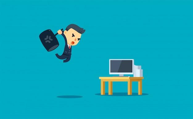 Biznesmen próbuje zepsuć komputer. ilustracji wektorowych